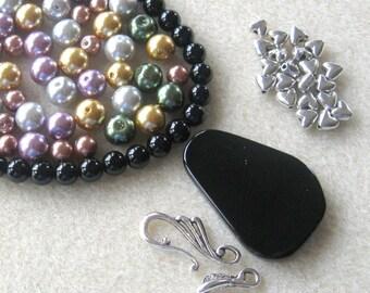 Black Onyx, Glass Pearls,  DIY Jewelry Kits, Bead Kits, Craft Supplies, Necklace Kit, Silver Plated, Jewelry Making Beads, Gemstone Beads