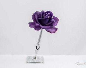Wedding Guestbook Pen- Purple Real Touch Rose Bridal Signature Pen.  on Stainless Silver Pen, Rhinestone Crystal Pen Holder