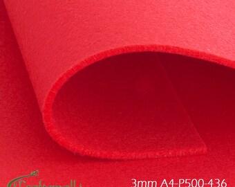 3mm Felt sheet 200x300mm - red - A4-P500-436