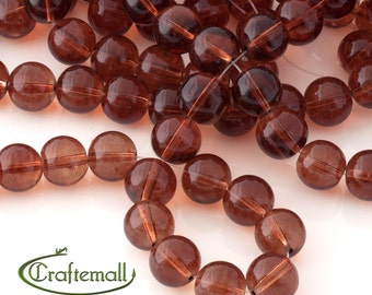Brown glass beads 12mm round - translucent brown glass beads - set of 20 beads