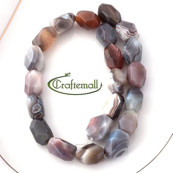 Botswana Agate 18x14mm faceted nugget - set of  21 beads