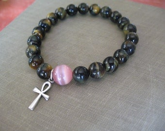 Bracelet: Tiger Eye, Gemstone Meditation with Pink Buddha Bead and Silver Anch Charm