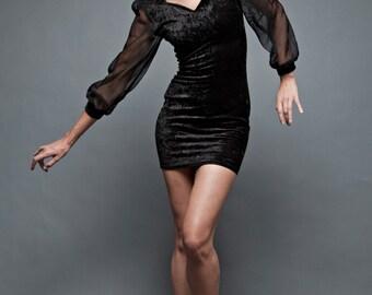 """vintage 80s mini dress bodycon LBD little black dress velvet stretchy sheer long sleeves S M (34""""-38"""" Bust)"""