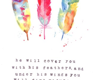 """Giclee print -water color painting """" Psalm 91"""" Size is 8X10"""