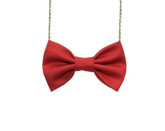 Cayenne Orange - Bow Tie Necklace, Women Casual Bowtie in Red Cayenne, Classic Accessory