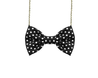 Black And White Small Polka Dot - Bow Tie Necklace White Dots Women Bowtie Retro