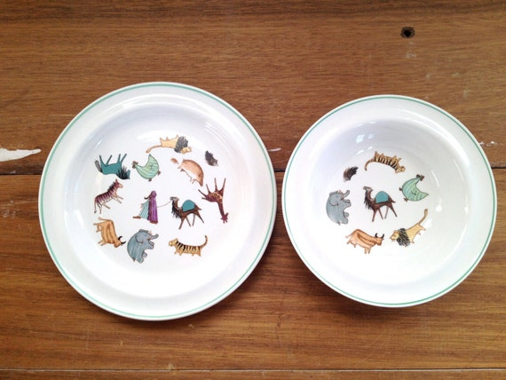 Vintage Arabia Childs Plate & Bowl Made in Finland, Zoo Animals Parade Line