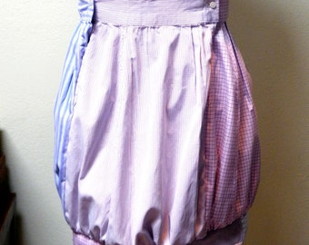 Custom Skirt - Bubble Skirt Upcycled from Men's Cotton Shirt Adjustable Customizable Ecofriendly and Fashionable