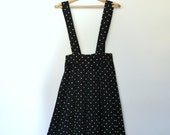 80s black polka dot jumper / retro culottes / high waist / medium