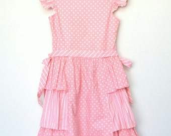 Girls pink dress white polka dots ruffled capped sleeves 80s vintage bow / size large