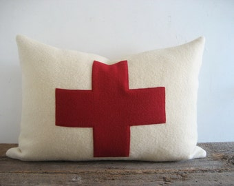 Lumbar Ivory Wool Blanket Pillow Cover Red Swiss Cross
