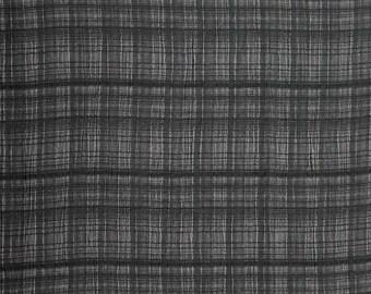 1/2 YARD, CRINKLE CREPE, Black Gray Plaid, Fashion or Home Decor Fabric, Medium Weight, Cotton Rayon, B30