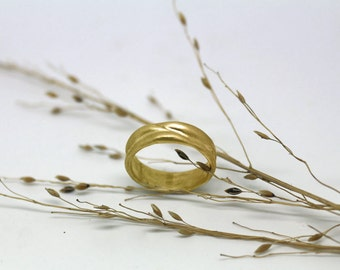 Wavy Gold wedding band unique mens or womens wedding ring modern wedding or promise band made to order