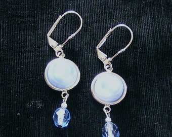 1950s Blue Moonglow Glass Button Earrings