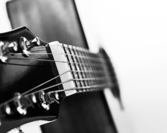 Acoustic Guitar 16x20 or 16x24 Photography Print, Musical Instruments, Black and White Music Decor