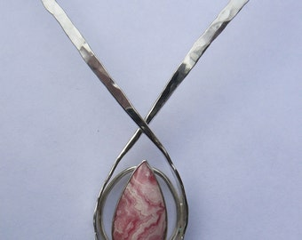 Handcrafted Hope Necklace For The Cure, Handmade Forged Sterling Silver and Rhodochosite