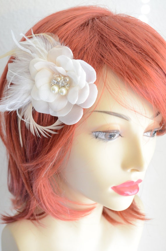 Best Seller Bridal Ivory and Champagne Hair Flower,Flower Fascinator,Flower with Feathers,Vintage Bridal Flower,Flower girl clip, Style B010