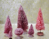 Vintage Inspired Hand Dyed and Glitter Dusted SNOW Bottle Brush Trees Set of 6 MANY LISTED Set #8