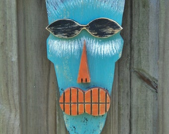 Primitive Wall Hanging, Tiki Man, Wood Sculpture, Tiki Mask, Rustic Beach House