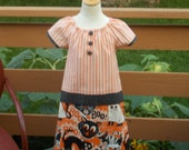 Halloween Scary Cats Peasant Dress, Size 5-6