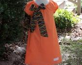 Orange Polka Dot Peasant Dress, Size 18 Months-2, 3-4, 5-6, 7-8, and 9-10.