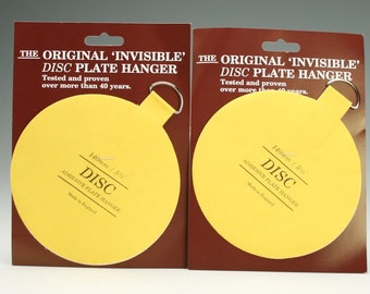 "Two (2) Extra Large Plate Hangers Invisible Disc - 5-1/2"" For Plates Up To 6-1/2 Pounds"