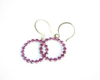 Hot Pink Crystal Dangle Earrings Vintage Swarovski Antiqued Gold Brass Boho Bohemian Circle Hoop Under 20 Gift for Women Glam Chic Fuchsia
