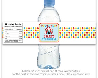 Carnival or Circus Party Custom Water Bottle Labels - 100% Waterproof