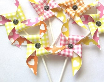 Paper Pinwheels Cupcake Topper CLEARANCE Set of 24 Cupcake Topper Pinwheels Mystery Lot 50% OFF for an Outdoor Party a Picnic or BBQ