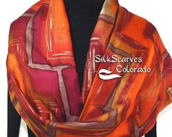 Silk Scarf Handpainted. Burnt Orange, Burgundy Hand Painted Shawl. Handmade Silk Wrap PASSION PRAIRIE. Extra Large 22x72. Birthday Gift