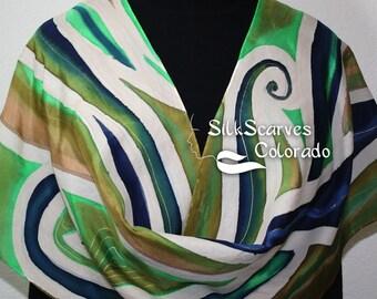 Green Hand Painted Silk Scarf. Green, Tan & Blue Silk Scarf MOUNTAIN FALLS.  Silk Scarves Colorado.  LARGE 14x72. BirthdayGift