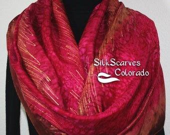 """Hand Painted Silk Shawl. Cherry Red & Brown Handmade Silk Wrap CHERRY ORCHARD. Extra-Large 22""""x72"""" by Silk Scarves Colorado. Hand Dyed Scarf"""