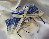 crystal heart garter, Wedding Garter , beautiful personalized blue satin and Ivory Lace with heart,  name garter