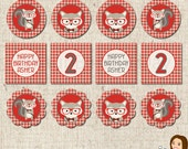 PRINTABLE Hipster Squirrel Party Circles (Personalized) #539