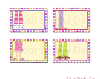 PRINTABLE Girl Pajama Party Label Tents #563