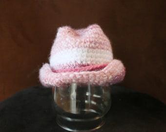 SALE - Crochet Pink Cowgirl Hat (Newborn)