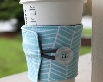Reusable Coffee Sleeve - Light Blue Herringbone Coffee Cozy - Aqua Cozy - Hot or Cold Drink Sleeve - Fabric Cup Wrap - Coffee Shop Cup
