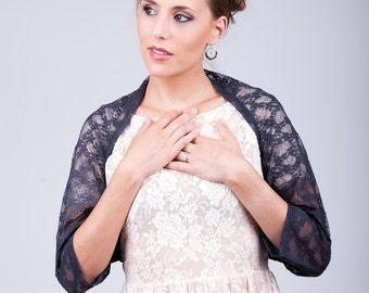 Black lace shrug, lace jacket, bridesmaid shawl, bridesmaid cover up, black lace bolero, rustic wedding