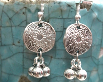 Antalya Turkish inspired Ethnic Boho bride silver flower and tiny balls dangle earrings Free people style Bohemian designed by Inali