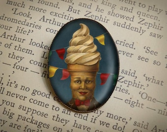 Mr. Softee Portrait Brooch - Mr. Softee Pin - Retro Food Icon - Ice Cream Brooch -Anthropomorphic Food