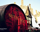 Harry Potter, Hogsmeade Butter Beer, Universal Studios Photography, Rust Red Garnet and Light Yellow Home Decor, Harry Potter Wall Art
