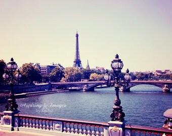 Paris Photography, Eiffel Tower Photography, Paris France, Soft Vintage Color Wall Art, Violet Light Pink, Seine River, Paris Decor