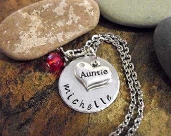 Aunt Necklace, Auntie Jewelry, Jewelry for Auntie, Personalized Jewelry, Hand Stamped Jewelry