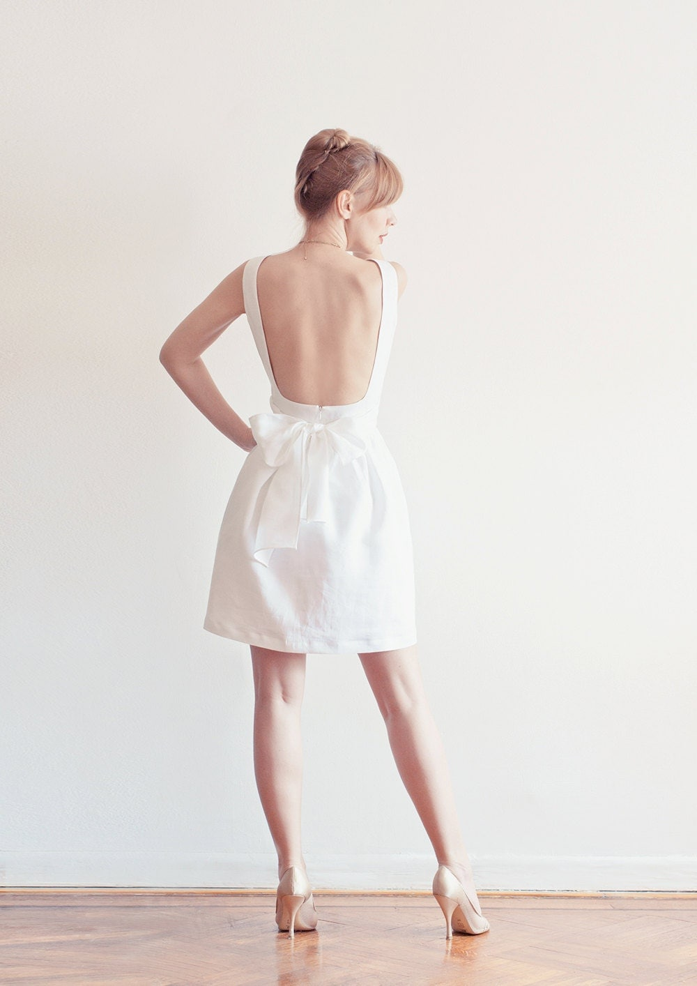 Evie dress white open back linen dress with pockets for Cloth for wedding dresses