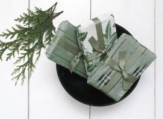 Green Tea & Ginger Handmade Soap Gift wrapped in vintage kimono fabric.