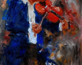 The Fiddler-FINE ART PRINT Abstract Impressionism Violin Musician Oil Painting