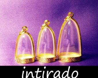 Intirado, Gold Tone, Dome Pendants, Engraved, Antiqued, Craft Supplies, Empty Container, Shadow Box, Pendant Charm, Memento, Jewelry, 3pcs
