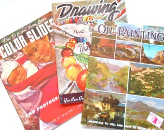 Vintage Art Instruction Books, Walter Foster, Oil Painting, Paint From Color Slides, Drawing Simplified