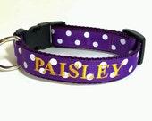 Purple Polka Dot Dog Collar - Personalized Dog Collar- Embroidered Dog Collar