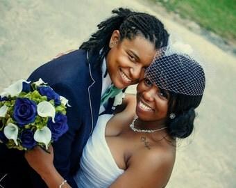 Brides bouquet - Navy and white Bridal bouquet - Blue rose Wedding bouquet - Silk wedding flowers